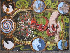six days of creation surrounding the fall in the garden of Eden. Maori symbols and patterns .