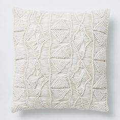 Macrame Diamond Pillow Cover - Stone White