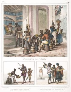 Marchand de tabac [above]; L'aveugle chanteur. Marchande de pandelos [below]. From New York Public Library Digital Collections.
