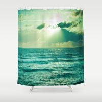 GREEN OCEAN Shower Curtain