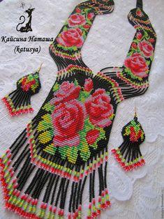 Beaded Necklace Patterns, Beaded Earrings, Beaded Jewelry, Crochet Necklace, Bead Loom Patterns, Loom Beading, Boho Necklace, Beaded Flowers, Mandala