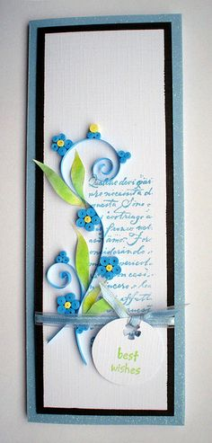 handmade card: Forget-me-not ...inspired by quilterlin by ..::aga::.. tall and thin card ... like how the script block and the quilling work together ... cute little blue quilled flowers ...