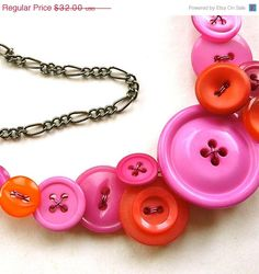 Bright Orange and Pink Vintage Big Button Bib Funky Statement Necklace by buttonsoupjewelry on etsy