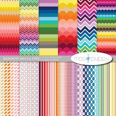 Rainbow Digital Scrapbook Paper Pack by Moo and Puppy