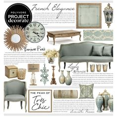 French Elegance by hmb213 on Polyvore featuring interior, interiors, interior design, home, home decor, interior decorating, Belle Maison, Thomaspaul, Bliss Studio and Ethan Allen