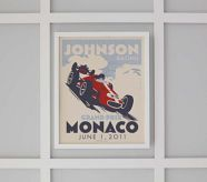 For a boy nursery: personalized vintage racing poster