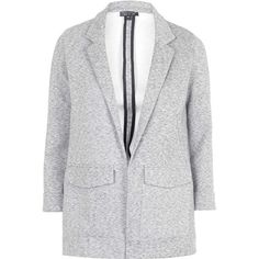 TOPSHOP Marl Jersey Boyfriend Jacket (£46) ❤ liked on Polyvore featuring outerwear, jackets, coats, grey, gray jacket, topshop, shrug jacket, shrug cardigan and grey jacket