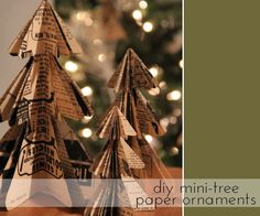 DIY Mini Christmas Tree Paper Ornaments Tutorial via The Sweetest Occasion.