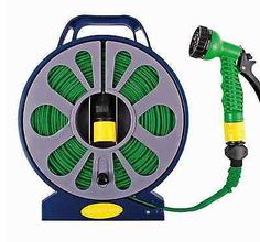 Details About 50ft 15m Flat Hose Pipe Reel With Spray Nozzle Gun Garden Outdoor Watering