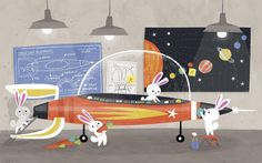 Looks like these lil' buns are prepping for a big trip, just in time for Easter! #bunny - Allison Black#rocket #space #illustration #Easter