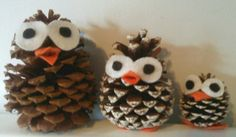 Cute decoration for a book case or mantle. Take a big fake pine cone and hot glue felt eyes, beak and feet.