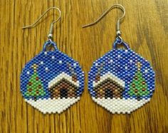 Winter Cabin Beaded Earrings. $20,00, via Etsy.