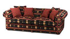 Ein englisches XXL Landhaus Sofa im Chesterfield Style mit einem orientalischen Stoffbezug.