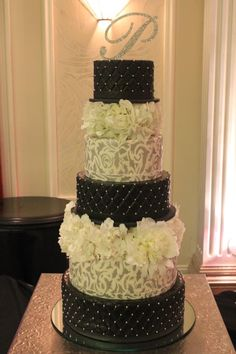 142 best Wedding Cakes images on Pinterest   Cake wedding  Wedding     Black and White Wedding Cake from House of Clarendon in Lancaster PA