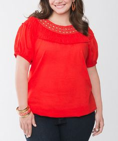 Take a look at this Flame Scarlet Crocheted Plus-Size Top by Lane Bryant on #zulily today! $23.99, regular 55.00