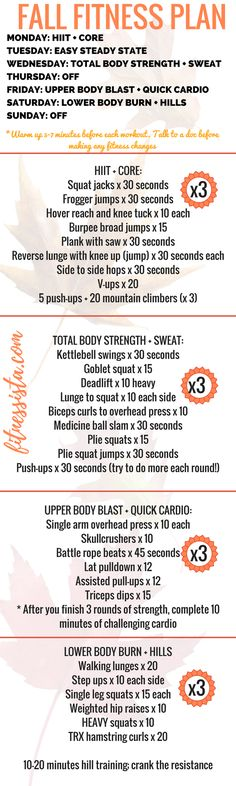 A full fall fitness plan! Perfect for the next time you don't know what to do at the gym, or are looking for a plan to change up your routine. Cardio, strength, HIIT and rest. Fitness Herausforderungen, Fitness Goals, Fitness Motivation, Health Fitness, Woman Fitness, Fitness Classes, Fitness Brand, Fitness Shirts, Fitness Quotes