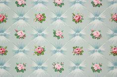 1940's Vintage Wallpaper Pink Roses on Blue by RosiesWallpaper
