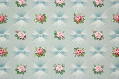 1940's Vintage Wallpaper Pink Roses on Blue by RosiesWallpaper