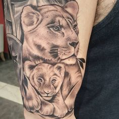 Lioness and Cub Tattoo Lion Head Tattoos, Mommy Tattoos, Mother Tattoos, Baby Tattoos, Forearm Tattoos, Finger Tattoos, Body Art Tattoos, Sleeve Tattoos, Lioness And Cub Tattoo