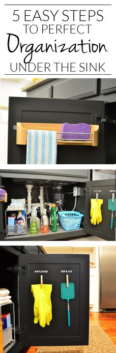 5 simple steps To FINALLY getting the cabinet under the kitchen sink under control. I think I could actually KEEP everything organized using these ideas. The dirty towel basket is so smart!