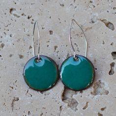 Earrings Enamel Copper Small Disc Enameled Jewelry Teal by Venbead,