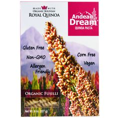 """Andean Dream Quinoa Pasta – Organic Fusilli"" Ingredients: Organic white rice flour, organic quinoa flour. GMO free. [Note: Always Check The Actual Product Label In Your Possession For The Most Accurate Ingredient Information Before Use Due to Potential Changes.]"