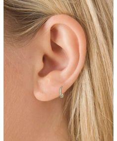 Boucle d'oreille créole pavée diamants