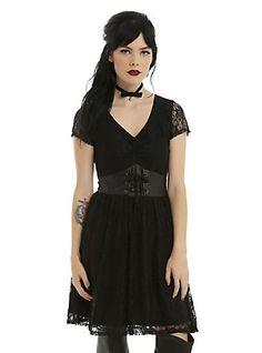 Black Short Sleeve Faux Leather & Lace Dress, BLACK