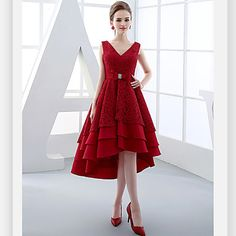 Cocktail+Party+Dress+Ball+Gown+V-neck+Asymmetrical+Lace+/+Satin+with+Bow(s)+/+Lace+/+Sash+/+Ribbon+–+AUD+$+171.59