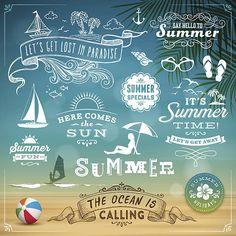 Sommer Design-Elemente – Vektorgrafik