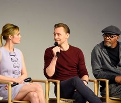 Brie Larson, Tom Hiddleston and Samuel L. Jackson speak at a panel during the Kong: Skull Island cast presentation at Apple Store Soho on March 6, 2017 in New York City. Via Torrilla. Higher resolution image: http://ww4.sinaimg.cn/large/6e14d388gy1fddzklp8ddj22s01uknpd.jpg