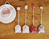 Set of 5 girly pink and floral cotton fabric tea bags tea party high tea play toy food set