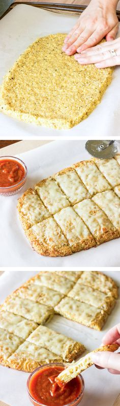 Quinoa Crust for Pizza or Cheesy Garlic Bread.Pizza and garlic bread are not allowed in a gluten free diet. This recipe is for a gluten free, quinoa crust that could be used for pizza or garlic bread Gluten Free Recipes, Vegetarian Recipes, Cooking Recipes, Diet Recipes, Healthy Recipes, Recipies, Recipes Dinner, Diet Tips, Bread Recipes