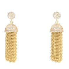22ct gold vermeil chain tassel earring Inspired from the domes of Byzantium architecture, this LATELITA tassel earring has been adorned with pave set clear crys