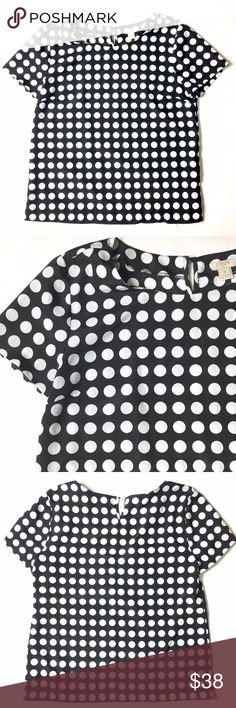 J. Crew Polka Top J. Crew short-sleeve top in black with white polka dots and back button closure (see last photo - button missing). Near-perfect condition in a size S. Retail $78. J. Crew Tops