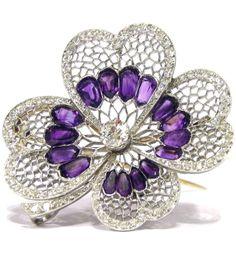 Fabergé Amythest and Diamond Clover Flower Brooch.