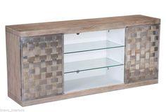 #Sideboard Heather Grey Finish Oak Free Ship New Braided metal #Modern Style @AAOS1