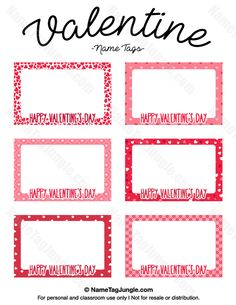 free printable valentine name tags the template can also be used for creating items like labels and place cards