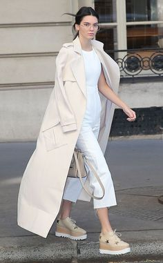 Kendall Jenner from Stars at Paris Fashion Week Spring 2016  The E! star dons a white ASOS jumpsuit paired with a Celine purse and Stella McCartney shoes while out in Paris.