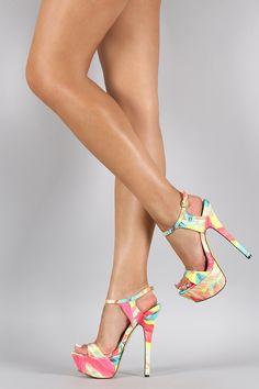 Liliana Floral Open Toe Platform Heel
