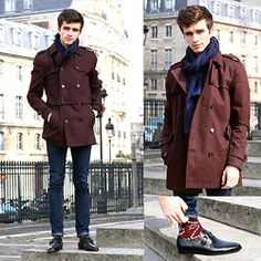 """Matthias Cornilleau - Burgundy Trench Coat, Indigo Skinny Jeans, Pair Of Kings Buckled Leather Shoes, Pullin Patterned Socks, Celioclub Patterned Scarf - """"Aeson"""""""