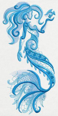 "Aquarius - Mermaid UT11499 | Urban Threads: Unique and Awesome Embroidery Designs 6.38""w x 11.77""h"