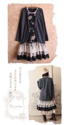 Japanese Fashion Mori Girl Sweet Women Loose Long Sleeve Floral Lace Dress