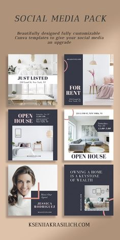 Real Estate Instagram Template.Create Minimalist Instagram stories and post design layout for your blog or business. Social media graphic templates bundle made in Canva. Fully customize colors,images,fonts unique social media ideas, DIY your design with these minimalist  for infopreneurs, bloggers, photographers, and digital marketers. Use quote templates as Blogging resources & tools for promoting your small business. #instagramtemplate #canvatemplate #bloggingresources…