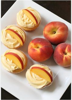 Peach cupcakes with cream cheese peach frosting...yes, please. Perfect summer dessert.