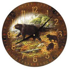 black forest decor catalog | Black Bear Wall Clock