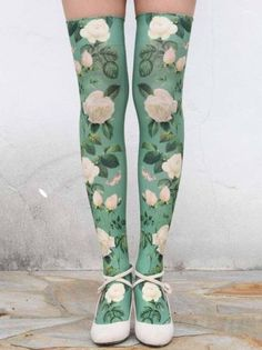 White Rose Over the knee Socks (wish these were full tights, but love the print! Looks Style, My Style, Stocking Tights, Cute Socks, Tight Leggings, Lolita Fashion, Sock Shoes, High Socks, Hosiery