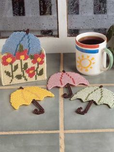 Plastic Canvas - Accessories - Coasters - Autumn Showers - #FP00080