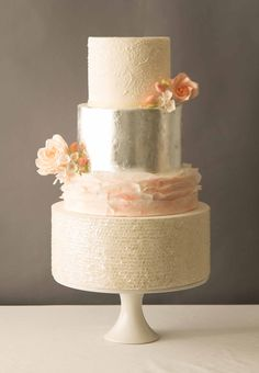 love the ruffles and sparkle and this white, blush pink and silver wedding cake! ~  we ❤ this! moncheribridals.com