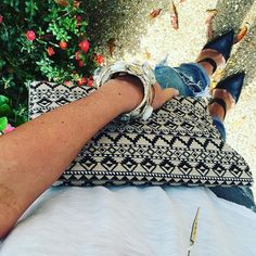 Heels. Oversized clutch. Bangles. Skinny jeans. Ready to slay Thursday. #spanishdutch #shoplocal #staugustine #igersjax #flaglercollege #jaxbeach #accessories #lotd #ootd #clutch #bangles #armparty #stackem #highheels #uptownstaugustine @staugustinebuzz by spanishdutch